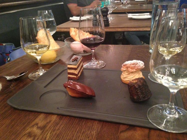 Café gourmand with dessert wines