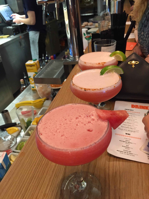 Watermelon soju cocktail