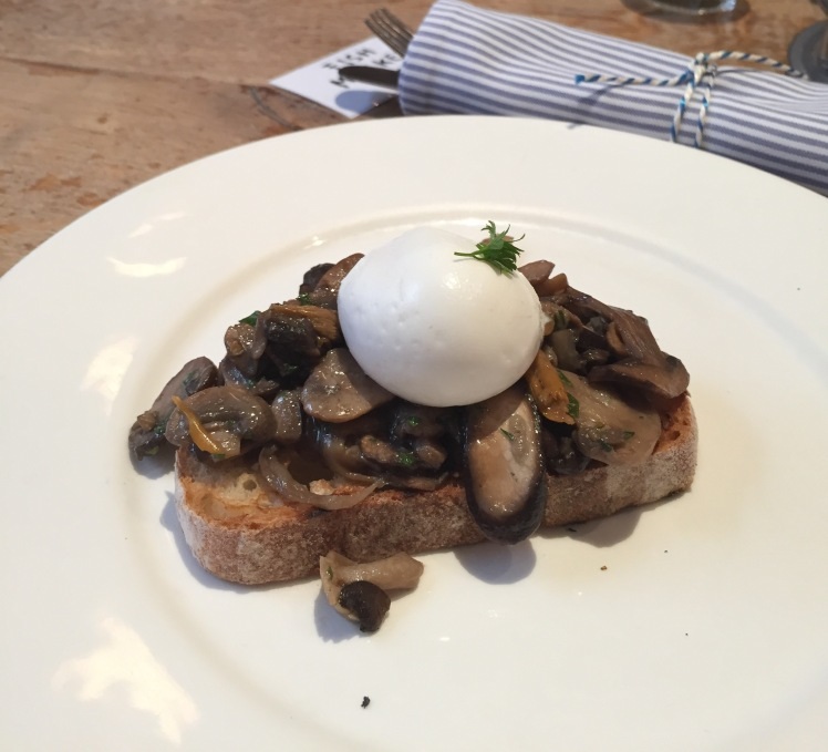 tarragon mushrooms on toast, soft poached egg