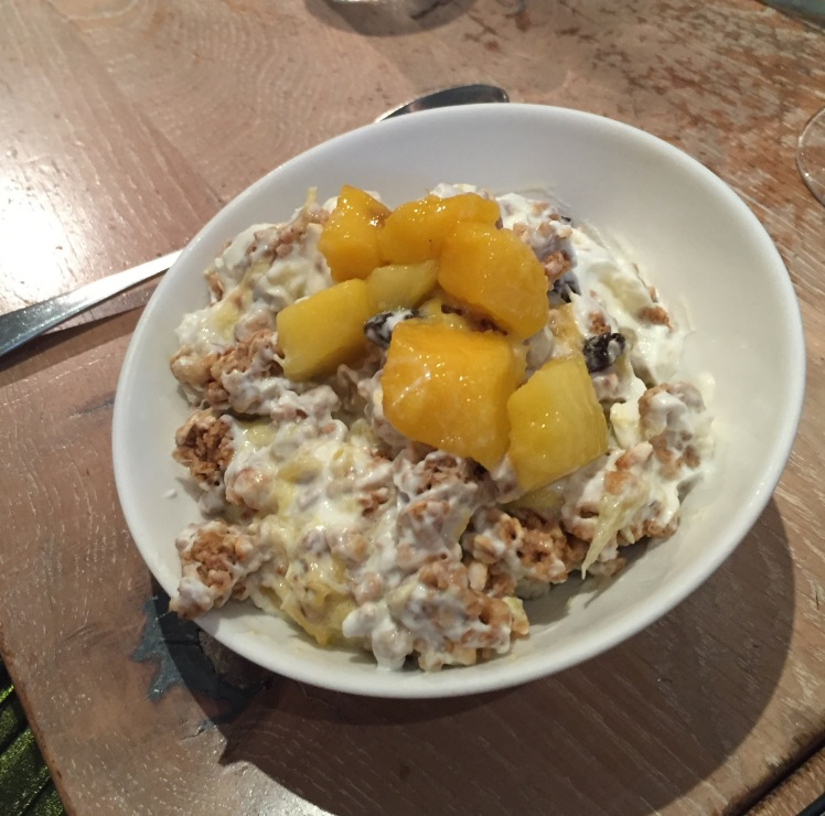 mango & orange granola, natural yoghurt