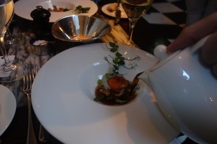 Boulestin Confit Egg Yolk, Wild Mushroom Consommé