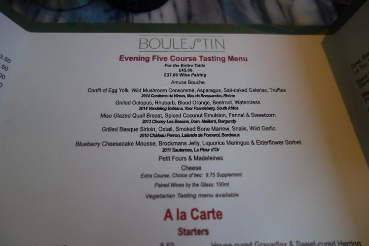 Boulestin tasting menu