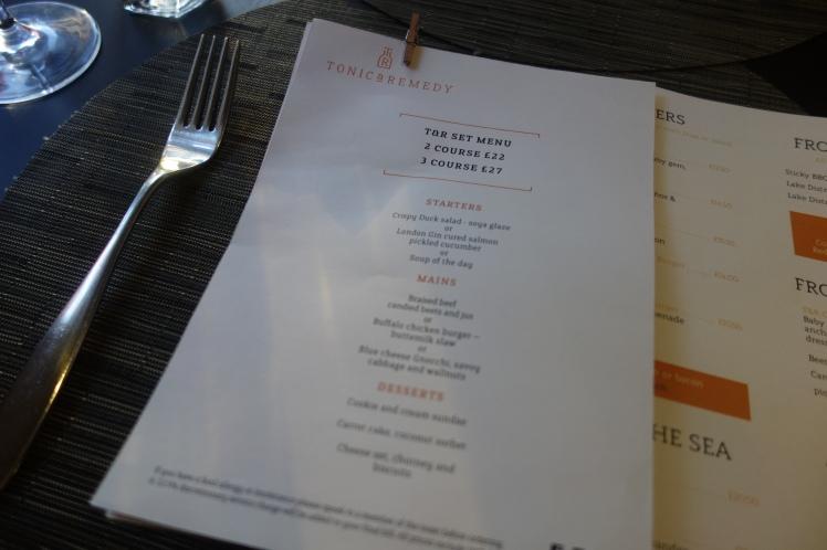 Tonic and Remedy set menu