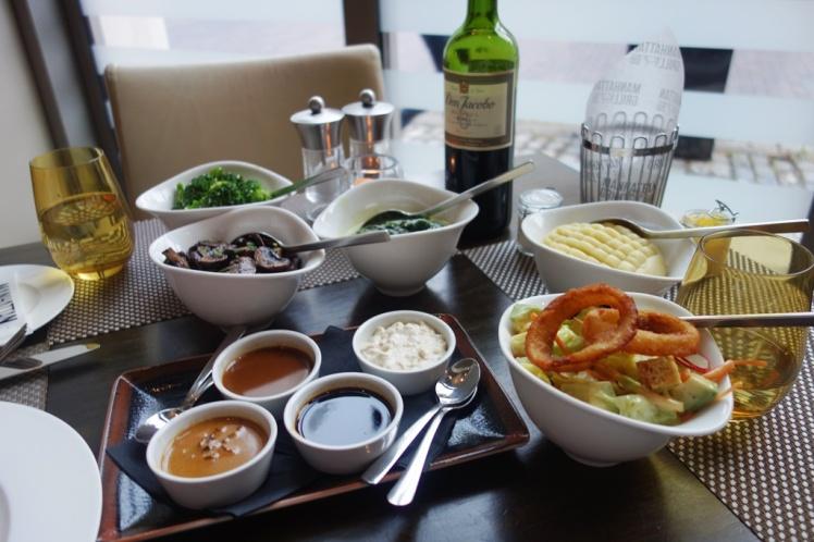 Mash, Creamed Spinach, Avocado Salad & Sauce Selection